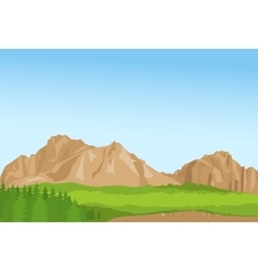 Wallpaper with summer mountains and florest vector image