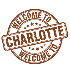 Welcome to charlotte brown round vintage stamp vector