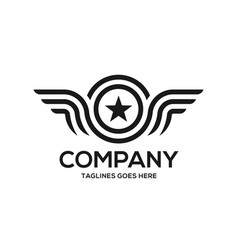 wings and star logo vector image