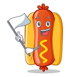 With flag hot dog cartoon character vector