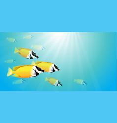 Yellow fish in water vector
