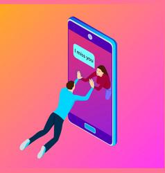 young couple communicate on smartphone isometric vector image