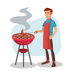 Bbq cooking man cook grill meat on bbq vector