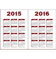 Calendar 2015 2016 vector