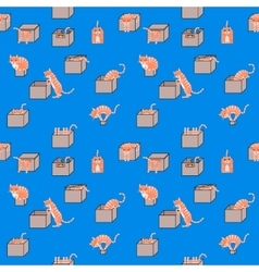 Cartoon cats in boxes seamless pattern vector image