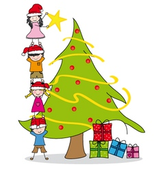 Children decorating a Christmas tre vector image