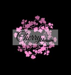 pink sakura blossom japanese cherry black vector image vector image
