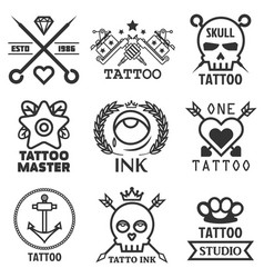 tattoo studio salon icon templates skull vector image