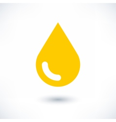 Yellow color drop icon with gray shadow on white vector image vector image