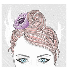 Young girl with flower in hair vector image vector image
