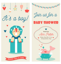 baby shower double invitation card with a cute vector image