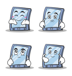 collection stock tablet character cartoon style vector image