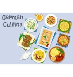 German cuisine dinner with beer and dessert icon vector image vector image