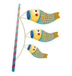 Japanese koi carp windsocks vector image