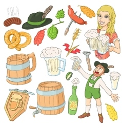 Octoberfest icon set cartoon style vector image vector image