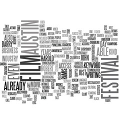 austin film festival text word cloud concept vector image