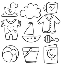 collection of baby theme doodle set vector image