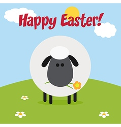 Happy Easter Background with a Sheep vector image vector image