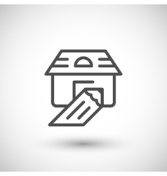 House sketch line icon vector image vector image