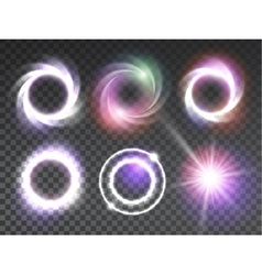 Isolated transparent glowing light effects set vector image vector image