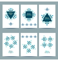 Set of white cards with ethnic design vector image vector image