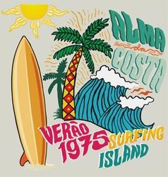 surfing island vector image vector image