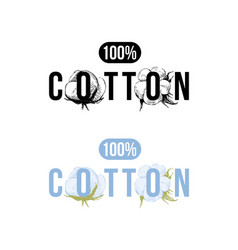 100 percents cotton logo vector image vector image