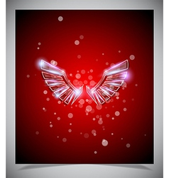 Abstract red background with glass wings vector image vector image