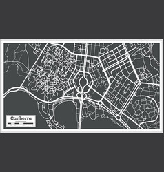 canberra australia city map in retro style vector image vector image