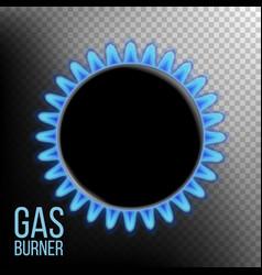 gas burner burner ring with blue flame vector image