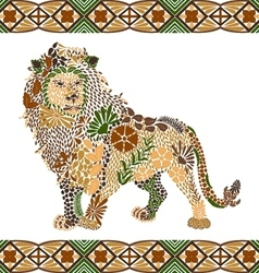 Lion pattern made from flowers leaves vector image