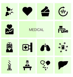 14 medical icons vector