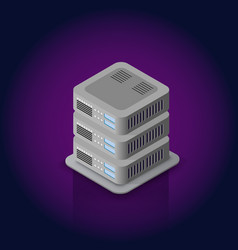 3d server network technology vector