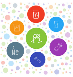 7 champagne icons vector image