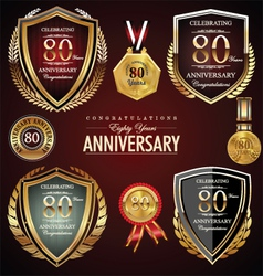80 years anniversary labels vector image
