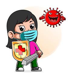 A girl fight corona virus sword and shield vector