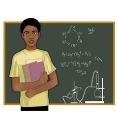 African american student at blackboard vector