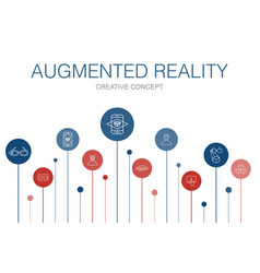 Augmented reality infographic 10 steps template vector