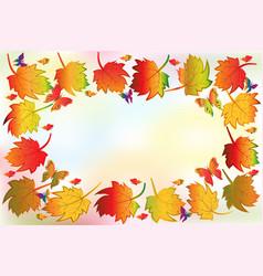 autumn season colorful fall leafs greetings card vector image