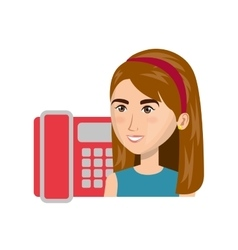 Avatar woman and telephone vector
