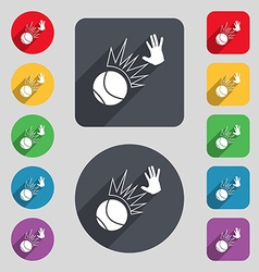 Basketball icon sign A set of 12 colored buttons vector