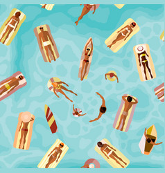 Beach summer pattern surfing and swiming people vector