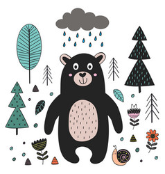 Bear in forest scandinavian style vector