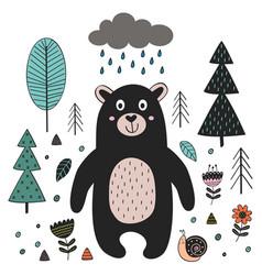 Bear in forest scandinavian vector