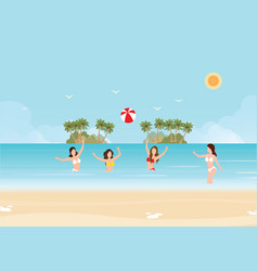 Bikini woman play volleyball in the sea vector