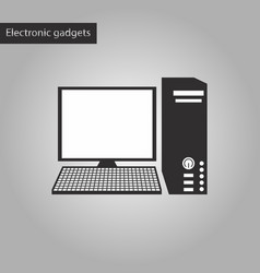 Black and white style icon a computer vector