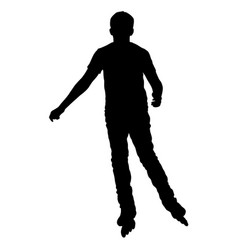 black silhouette of an athlete on roller skates on vector image