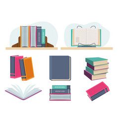 books closed opened library old pages vector image