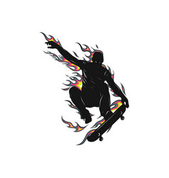 Boy jumping with skateboard with flames behind vector