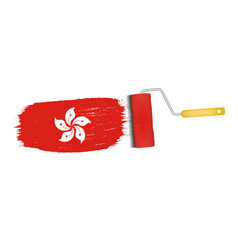 Brush stroke with hong kong national flag isolated vector
